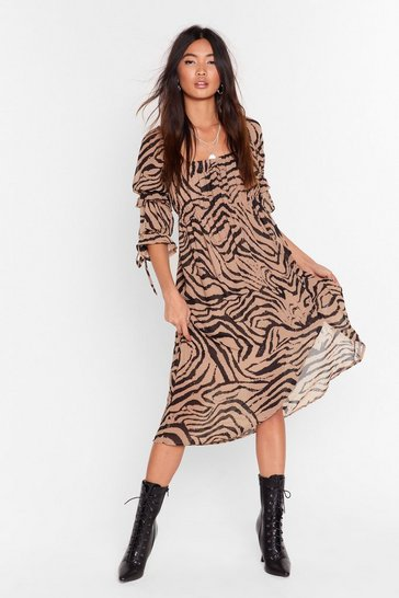 Womens Camel I'm the Wild One Zebra Midi Dress