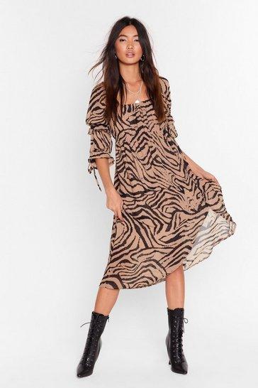 Camel I'm the Wild One Zebra Midi Dress