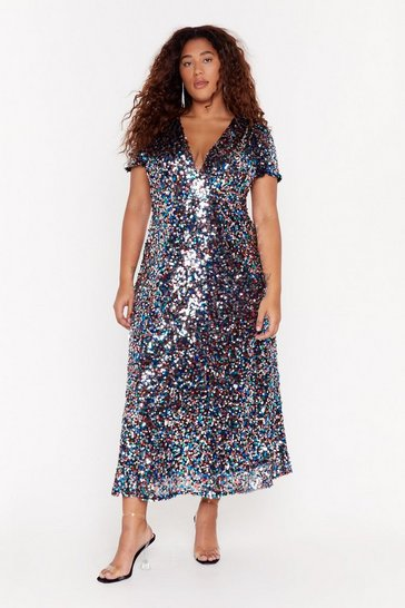 Silver  plus sequin multi disk midi dress