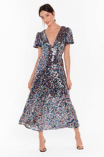 Silver Command Attention Sequin Midi Dress