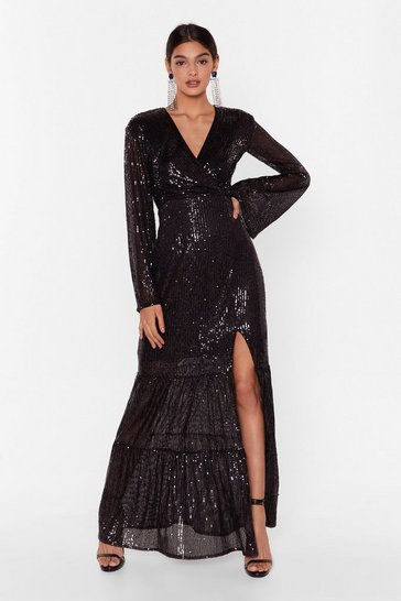 Womens Black How Long Can Disco Go on Sequin Maxi Dress