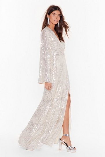 Womens Champagne How Long Can Disco Go on Sequin Maxi Dress