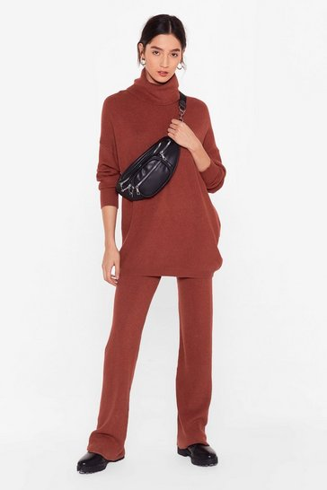 Rust All Together Now Knitted Turtleneck Jumper and Trousers Set