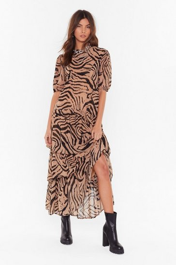 Womens Camel Haven't You Herd Zebra Maxi Dress