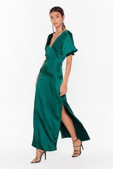 Dark green I Want Slit All Satin Maxi Dress