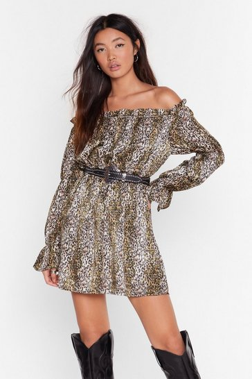 Green Wild Awake Leopard Mini Dress