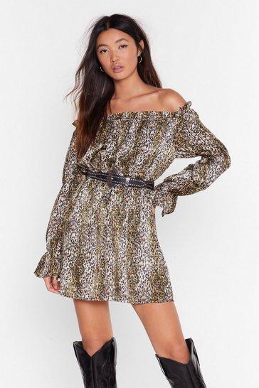 Green Wild Awake Leopard Mini Dress