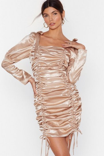 Champagne Blame It on the Ruche Satin Mini Dress