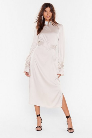 Oyster Found Our Sleek Spot Satin Midi Dress