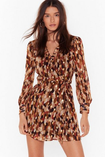 Womens Tan Turning Over a New Leaf Wrap Mini Dress