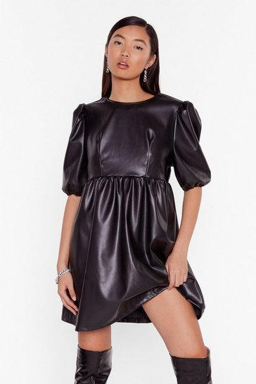 Black Faux Leather You're in or Out Puff Mini Dress