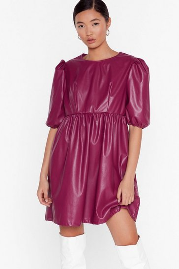 Plum Faux Leather You're in or Out Puff Mini Dress