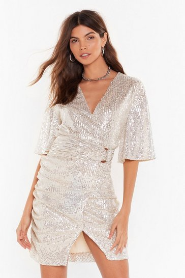 Champagne wrap angel sleeve sequin mini dress
