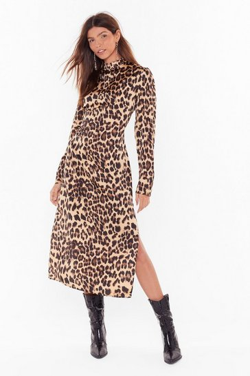 Womens Brown Without at Scratch Leopard Satin Dress