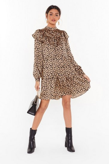 Black Here and Meow Satin Leopard Dress