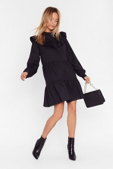 Black Frill There Be Tequila High Neck Mini Dress