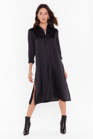 Womens Black Slit Refresh Satin Shirt Dress