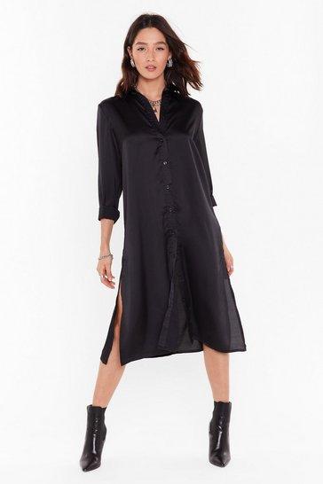 Black Slit Refresh Satin Shirt Dress