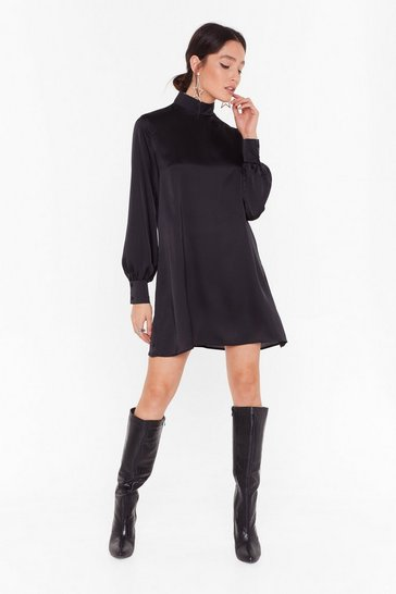 Womens Black Smock On Your Tail Satin Mini Dress