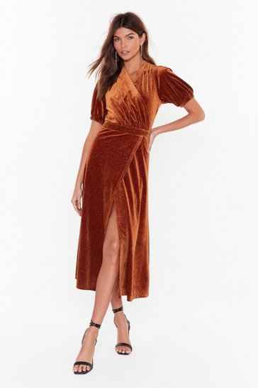 Womens Rust Shine After Shine Velvet Midi Dress