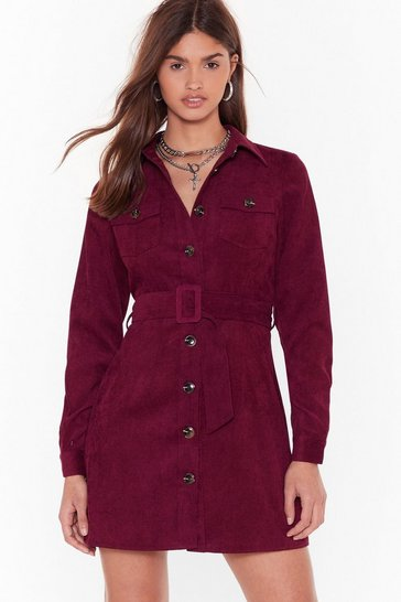 Womens Maroon Strike a Cord-uroy Belted Mini Dress