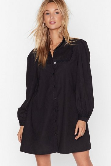 Black Lace Go Out Tonight Shirt Dress