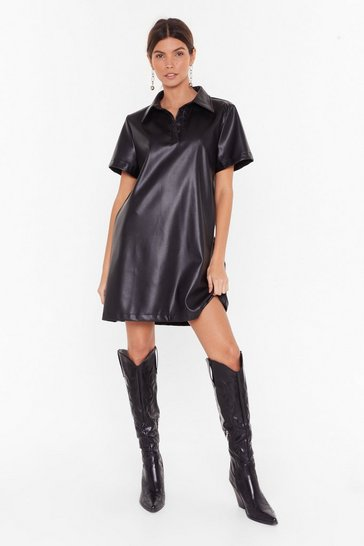 Womens Black  Bite the Dust Faux Leather Shirt Dress