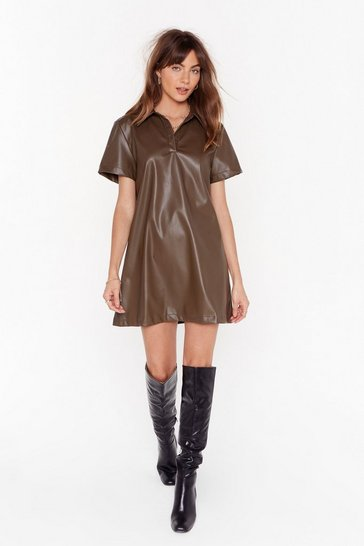 Olive  Bite the Dust Faux Leather Shirt Dress