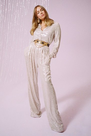 Womens Silver Spotlight Worthy Sequin Wide-Leg Pants