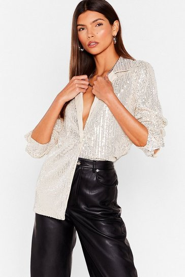 Womens Silver Spotlight Worthy Sequin Shirt