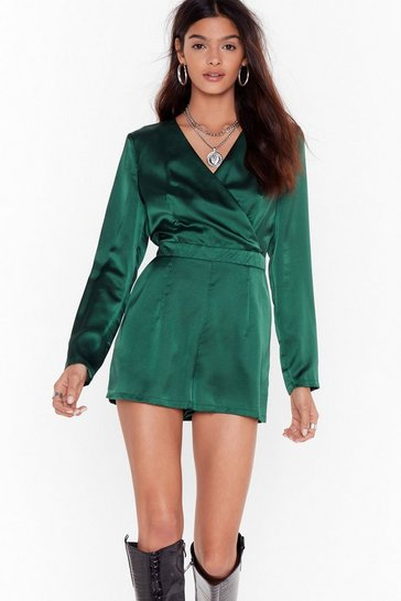 Womens Emerald Fill the Wrap Satin V-Neck Romper