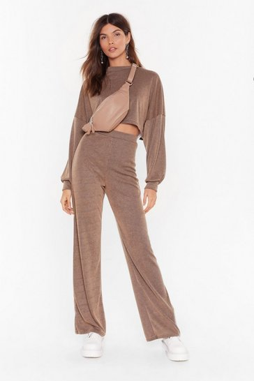 Womens Camel Back to Basics Crop Top and Trousers Lounge Set