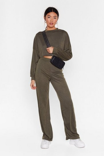 Womens Khaki Back to Basics Crop Top and Trousers Lounge Set