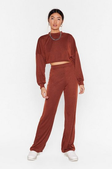 Rust Back to Basics Crop Top and Trousers Lounge Set