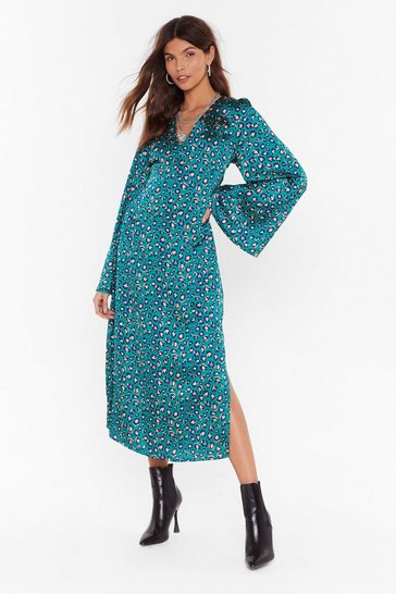 Womens Green Come Down Leopard On 'Em Satin Midi Dress