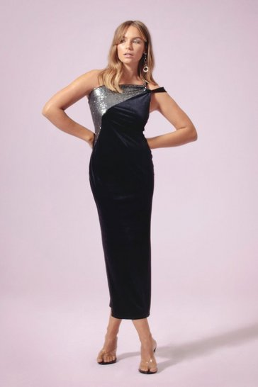 Womens Black Feelin' the Music Velvet Maxi Dress