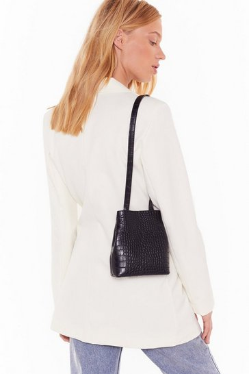 Womens Black Pu croc mini 2 in 1 bag