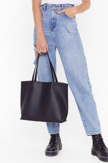 Black WANT Hold Your Own Faux Leather Tote Bag
