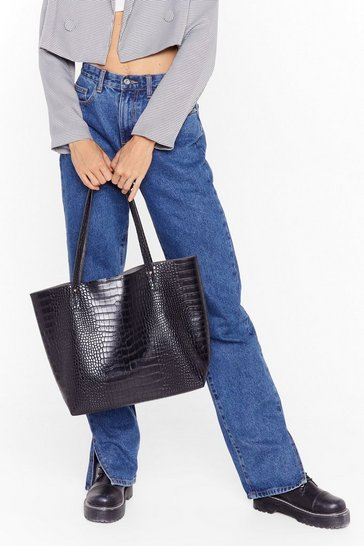 Black WANT Hold Your Own Croc Tote Bag