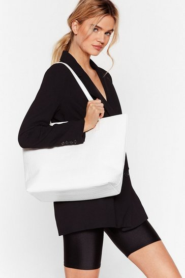 White WANT Hold Your Own Croc Tote Bag