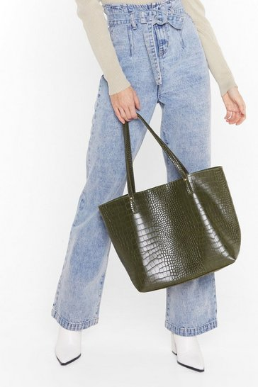 Khaki WANT Hold Your Own Croc Tote Bag