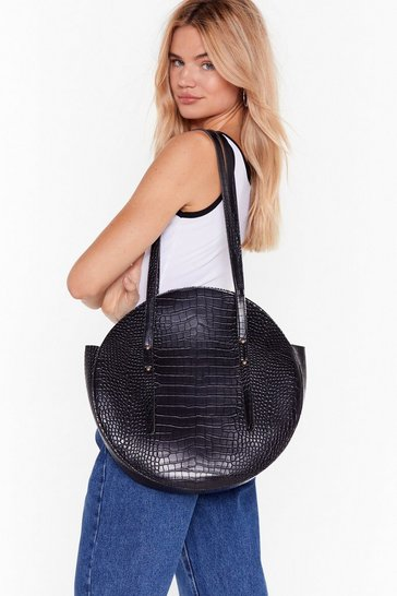 Black WANT Goin' Round in Circles Croc Tote Bag