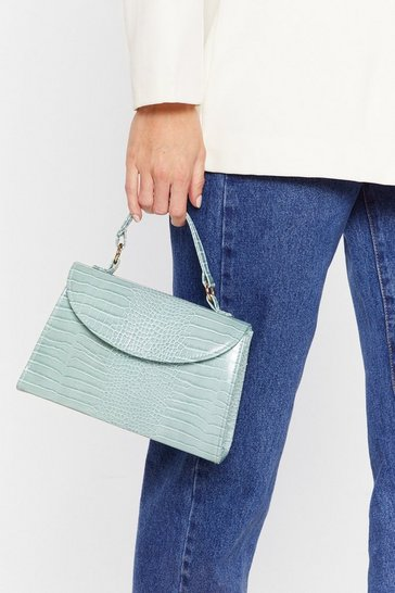 Mint Faux croc midi crossbody bag