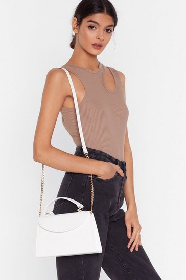 White WANT We Croc Your Back Faux Leather Bag