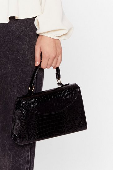 Black WANT We Croc Your Back Faux Leather Bag