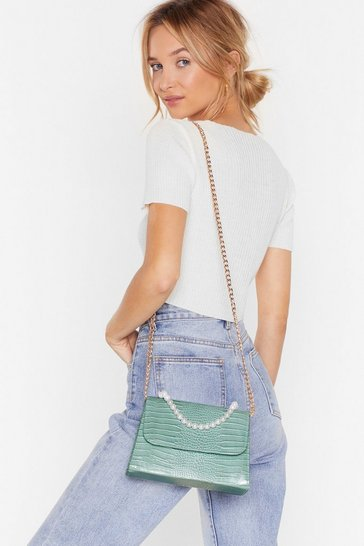 Mint WANT Grab the Pearls Croc Crossbody Bag