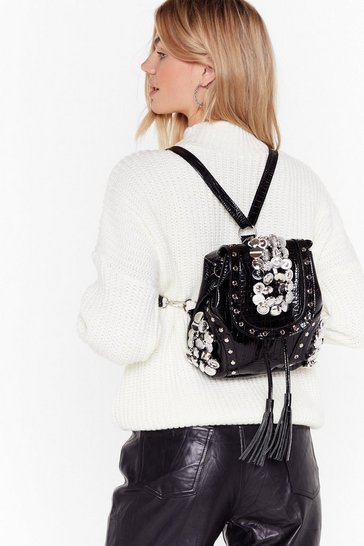 Black Pu croc silver button backpack