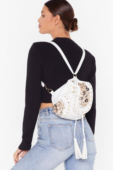 White WANT Button Our Way Faux Leather Backpack