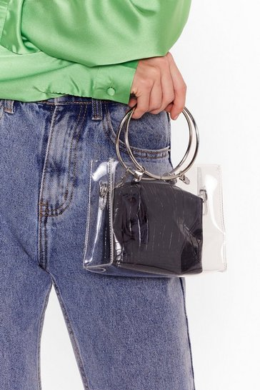 Black WANT The Answer is Clear Crossbody Bag