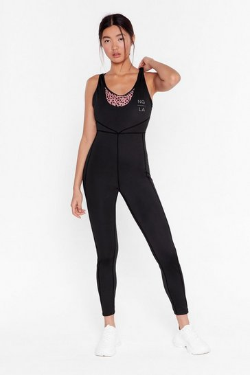 Black Recycled One Time Thing Dalmatian Workout Unitard